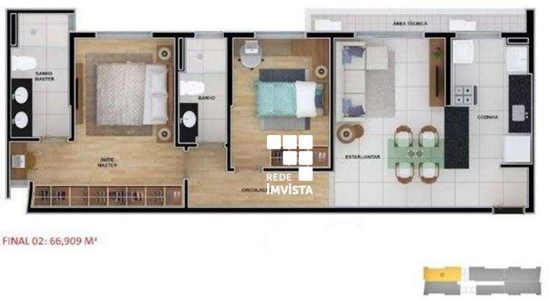 Apartamento com 2 dormitórios à venda, 62 m² por R$ 1.100.910,00 - Funcionários - Belo Horizonte/MG Foto 13